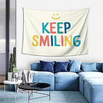 Keep Smiling - Colorful Happy Quote Tapestry Boutique Wall