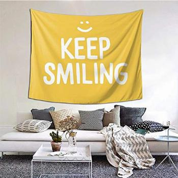 Keep Smiling - Yellow Happiness Quote Tapestry Boutique Wall