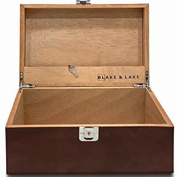 Locking Wood Storage Box - Decorative box for Home or Office