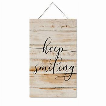Pealrich Hanging Wooden Sign with Saying Keep Smiling, Home