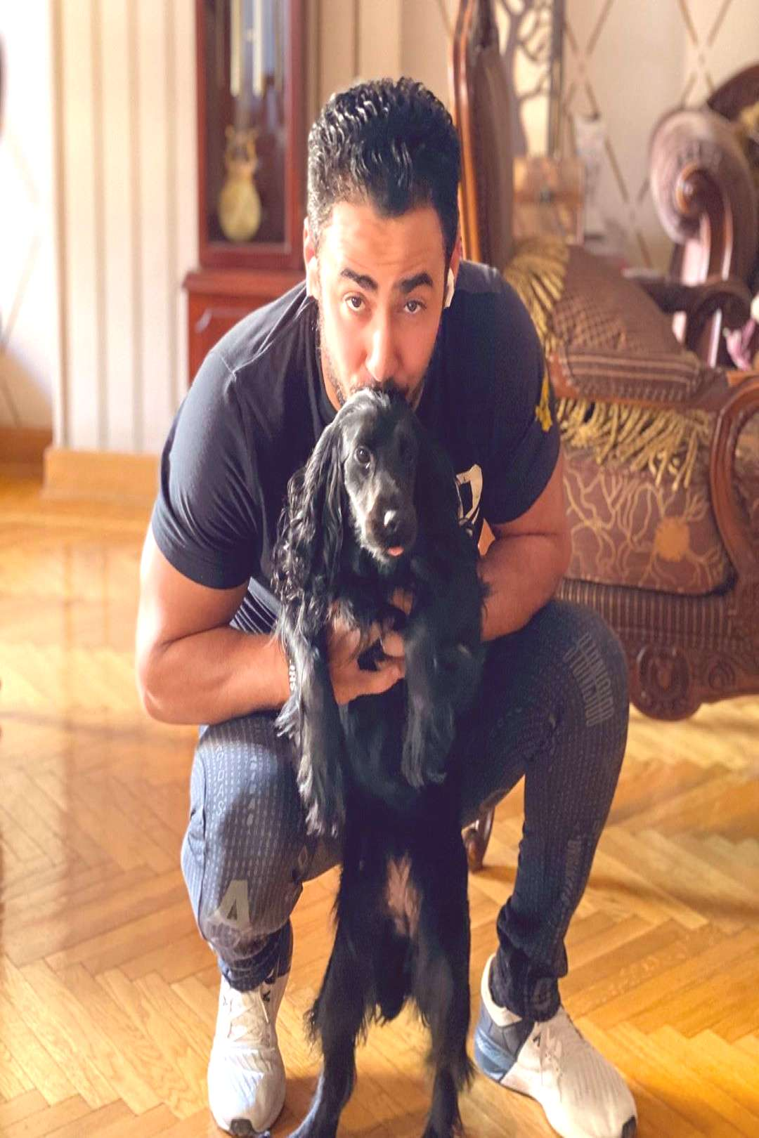 Khaled Khalil on June 02 2020 and 1 person dog and indoor